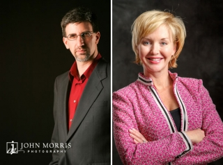 Non Traditional corporate head shot poses of a male and female executive against a dark grey background shot in studio.