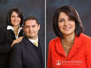 Formal studio portrait of a real estate agent and her husband team member, in studio on a traditional gray background.