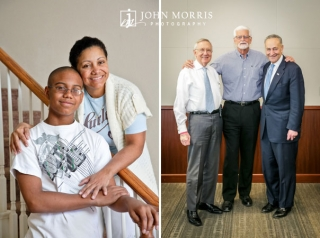 A mother and her son pose on the staircase of their new home and Senators Harry Reid and Chuck Schumer pose with an executive in an informal portrait.