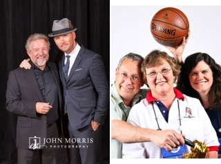 Matt Goss, Las Vegas Crooner, poses with a happy fan during a meet & greet and a happy family poses on a white background, photo booth style during a networking event.