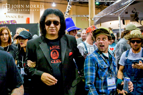 Gene Simmons is recognized by a shocked fan walking the aisles of the SIA Snowsports Show is Las Vegas.