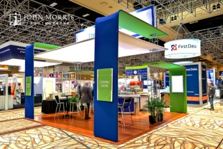 Modern design exhibit booth on display during a trade show in Las Vegas, NV.
