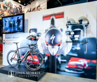 Details inside an exhibit booth during a cycling trade show in Las Vegas.