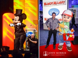 Micky Mouse and Handy Manny pose with Wilmer Valderrama during a trade show event at the Disney Booth.