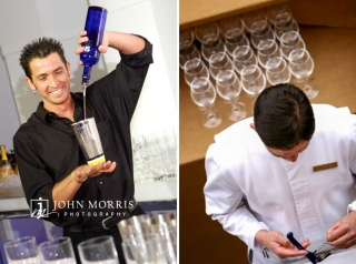 Bartenders happily pour wine and create cocktails during an after hours networking event.