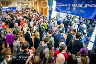 Eager attendees stream into the exhibit hall at Mandalay Bay for the SIA Snowsports Trade Show in Las Vegas.