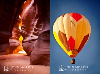 Beautiful colors from Antelope Canyon in Arizona and a hot air balloon framed against a bright blue Nevada sky.