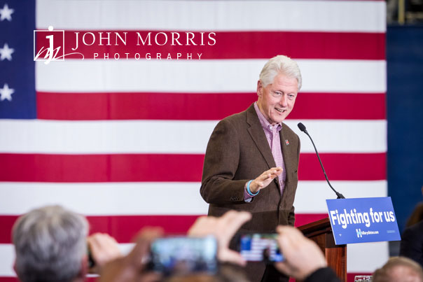 President Bill Clinton address a crowd of supporters.