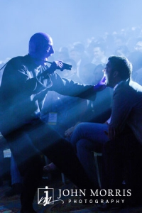 Blue Man Group entertaining a corporate event audience