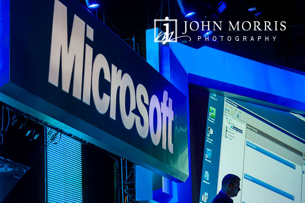 Stage set and design behind a corporate presentation during a general session at a corporate event