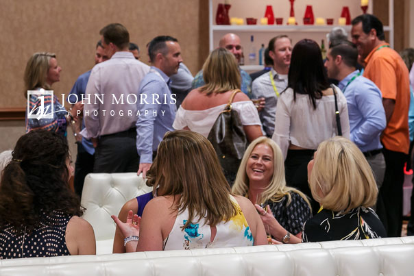 Business owners enjoy networking at a cocktail hour during a corporate event being held at the Mandalay Bay Convention Center in Las Vegas