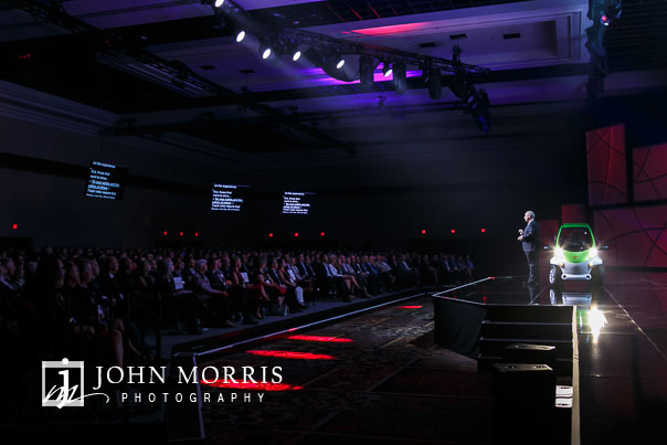 CEO addressing a crowded event venue during the opening remarks of a general session during a corporate event at the Mandalay Bay Convention Center in Las Vegas