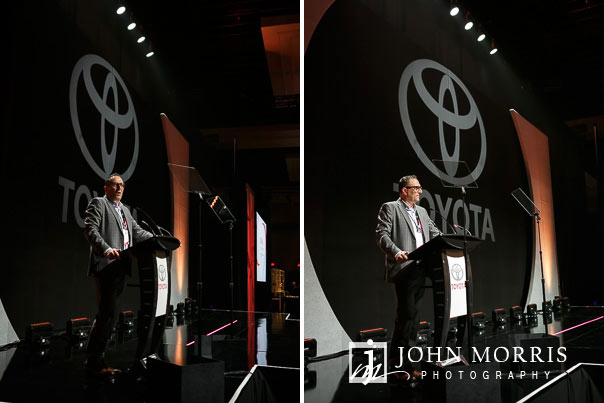 Examples of no flash and fill flash while photographing speakers and presenters during an awards ceremony and dinner during a corporate event at the Mandalay Bay Convention Center in Las Vegas