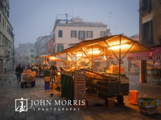 Early morning vegetable vendor on the foggy streets of Venice