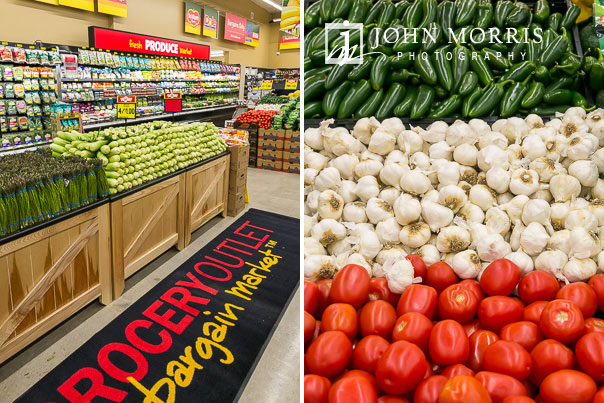 Professional event photographs of a grocery store grand opening in San Diego including images of the produce section.