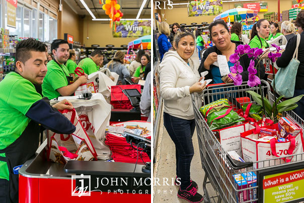 Happy customers and baggers during a Professional event photographed during a grocery store grand opening in San Diego
