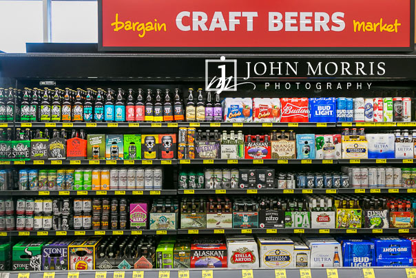 Colorful Craft Beer Display during a Professional event photographs of a grocery store grand opening in San Diego